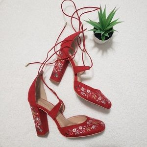 Shoes - Red Flower Embroidered Heels